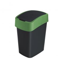 Abfallbehälter mit Schwing- oder Klappdeckel, PP, BxTxH 260x340x470 mm, Inhalt 25 Liter, schwarz/grün
