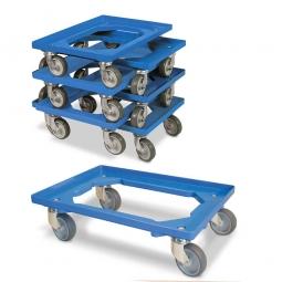 7er-Set Roller-Sparpaket 600 x 400 mm, offenes Deck, 4 Lenkrollen, graue Gummiräder, blau