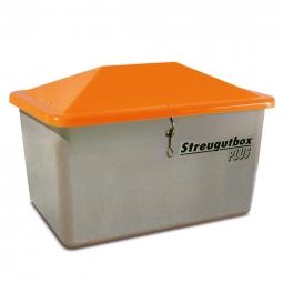 Streugut-Behälter, Volumen 100 L, grau/orange, LxBxH 890x590x370 mm, glasfaserverstärkter Kunststoff (GFK)