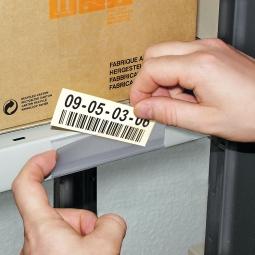 Etikettenhalter, VE = 50 Stk, selbstklebend, BxH 100x26 mm, mit 3 Bogen weißen Etiketten zum Selbstbedrucken