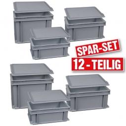 12-teiliges Eurobehälter Spar-Set, LxB 300 x 200 mm, Höhe 120 mm, 150 mm, 220 mm