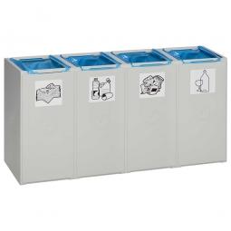 Abfall- und Wertstoff-Trennsystem, HxBxT 570 x 1010 x 405 mm, 40 Liter, 4-fach, lichtgrau