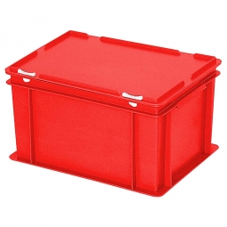 Eurobehälter mit Scharnierdeckel, LxBxH 400 x 300 x 230 mm, 21 Liter, rot
