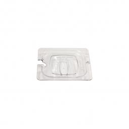 Auflagedeckel f Schale GN1/6, mit Löffelaussparung, LxB 176x162 mm, Polycarbonat, glasklar