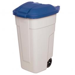 Rolltonne, PP, BxTxH 510 x 550 x 850 mm, 100 Liter, beige/blau