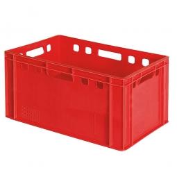 Eurobehälter E3, 4 Durchfassgriffe, LxBxH 600 x 400 x 300 mm, 60 Liter, rot