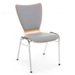 Holzschalen-Stapelstuhl, Mit Sitz- und Rückenpolster in Farbe grau