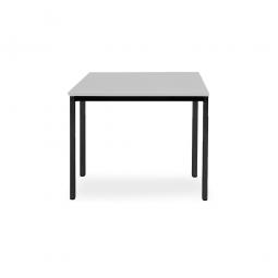 Rechtecktisch, Gestell schwarz, Platte lichtgrau, BxTxH 800x800x720 mm