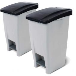 Spar-Set, 2x 60 Liter Tret-Abfallbehälter, BxTxH 380 x 490 x 700 mm, Deckelfarbe schwarz