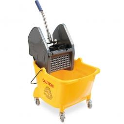 Reinigungs-Fahreimer mit Mopp-Presse, 4 Lenkrollen, Farbe gelb,  Inhalt 24 Liter