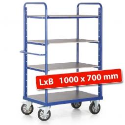 Hoher Etagenwagen mit 3 Böden/4 Ladeflächen, LxBxH 1190 x 700 x 1800 mm, Tragkraft 1200 kg