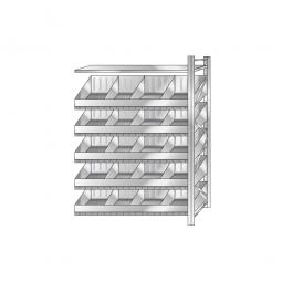 Schüttgut-Anbauregal, BxTxH 1210 x 525 x 2000 mm, 5 Ebenen, 20 Schüttfächer, 1 Fachboden, glanzverzinkt